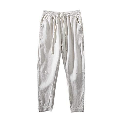 Herren Stoffhose aus 55% Leinen & 45% Baumwolle m. Men Casual Strandhosen Lange sportliche Regular Fit Hose Moderne Baumwollhose Leinenhose Bequeme Freizeithose f. Männer