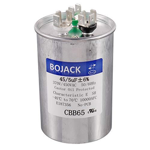 BOJACK 45 + 5 uF 45/5 MFD ± 6% 370/440 V CBB65 Condensador de arranque redondo doble para funcionamiento del motor de CA o arranque del ventilador