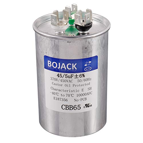 BOJACK 45+5 uF 45/5 MFD ±6% 370V/440VAC CBB65 Dual Run Circular Start Capacitor for AC Motor Run or Fan Start or Condenser Straight