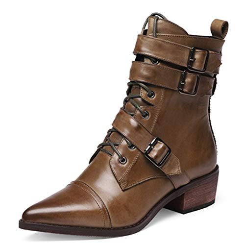 Women Ankle Boots Genuine Leather Motorcycle Boots Pointed Toe Buckle Lace up Autumn Winter Durable Breathable Shoes