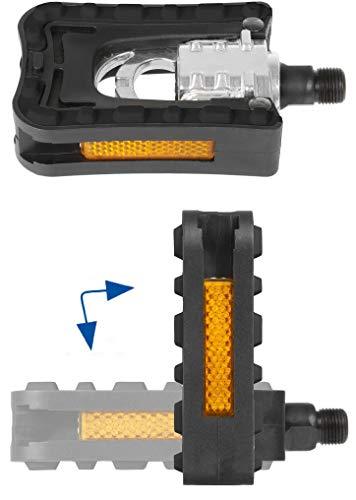 P4B | mit Reflektoren | mit Anti-Rutsch-Auflage | beidseitig faltbar FALT-Pedal für Fahrräder Alu/kunststoff-p4b-ht F2, ca. 98 x 69 mm |, Alu/Kunststoff in Schwarz/Silber