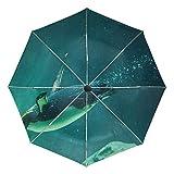 Petit Parapluie de Voyage Coupe-Vent extérieur Pluie Soleil UV Auto Compact 3 Plis parapluies Couverture - réservoir d'eau de Natation Petit Pingouin Australien