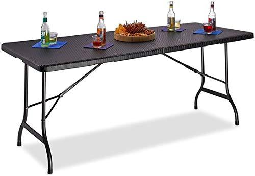Maxx – Tavolo da giardino in plastica – pieghevole – Tavolo da giardino pieghevole – Nero effetto rattan – 180 x 75 x 74 cm