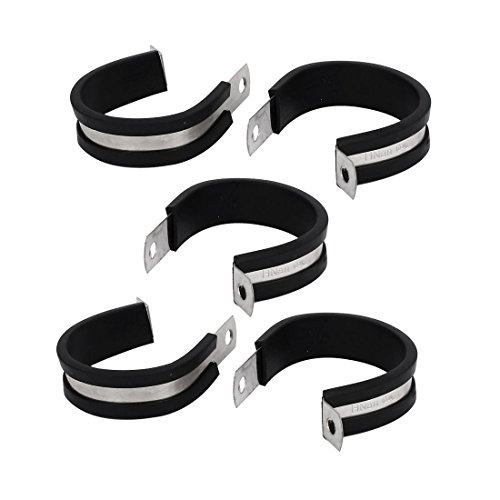 uxcell 42mm Dia EPDM Rubber Lined P Clips Cable Hose Pipe Clamps Holder 5pcs
