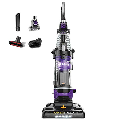 Eureka NEU202 PowerSpeed Lightweight Bagless Upright Vacuum Cleaner with Automatic Cord Rewind and 4 On-Board Tools, CordRewind+Pet, Purple