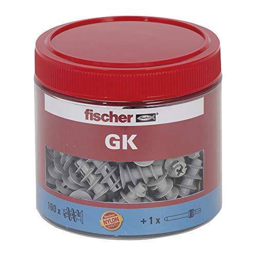 Fischer - Gk Bote Redondo, tacos para pared, (Bote de 160 160 x gk con herramienta de ajuste), gris