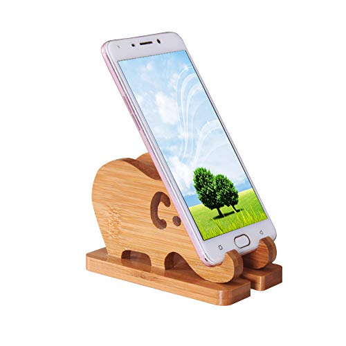Cell Phone Stand, Phone Dock : Cradle, Holder, Compatible with Switch, All Android Smartphone, Phone 11 Pro Xs Max Xr X 8 7 6 6s Plus 5 5s 5c, Bamboo Desk Organizer Accessories (Elephant Phone Stand)