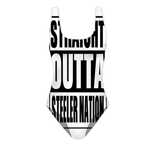 C COABALLA Straight Outta Steeler Nation,Women One Piece Beachwear Swimsuit Floral Printed Swimsuit L