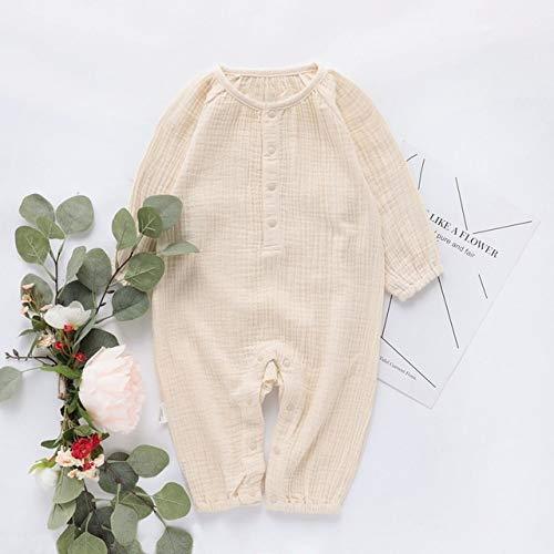 HAOJUE Ropa de bebé de algodón orgánico, ropa de lino, ropa de bebé, de manga larga, mameluco para bebé, mono de otoño, ropa para bebé, para niño (color: beige, tamaño: 9 m)
