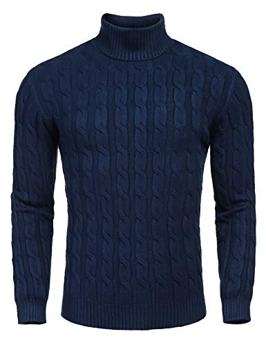COOFANDY Men's Slim Fit Turtleneck Sweater Casual Twisted Knitted Pullover Sweaters, Navy Blue, X-Large