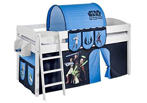 Lilokids Lit Mezzanine IDA 4105 Star Wars The Clone - Système de lit évolutif Convertible Blanc - avec Rideau