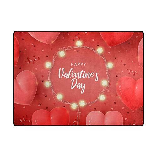 Mr.XZY Alfombra para el día de San Valentín, con forma de corazón para dormitorio, antideslizante, para sala de estar, oficina, cocina, decoración de interiores, 63 x 48 pulgadas, 2010899