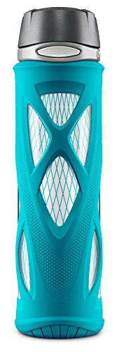 ZULU Atlas Glass Water Bottle with Silicone Sleeve, 20 oz, Teal