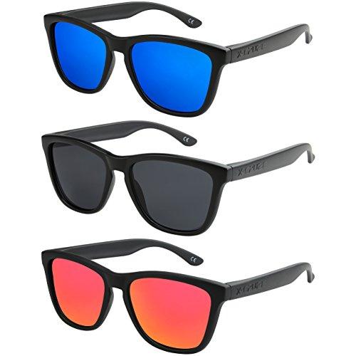 X-CRUZE 3er Pack Nerd Sonnenbrillen polarisierend Vintage Retro Style Stil Unisex Herren Damen Männer Frauen Brille - schwarz matt - Set A -