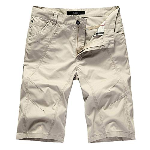 LSSM Pantalones Cortos De Verano, Pantalones De Cinco Puntos, AlgodóN Suelto, Overoles Casuales para Hombres Elasticos Mujer Pantalones Esqui Mujer Pantalones Cortos Deportivos Mujer Beige 30