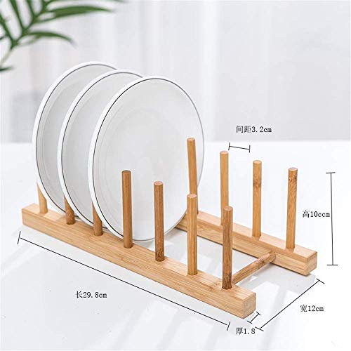 AWJ Bamboo Dish Rack Drainboard Drying Drainer Storage Holder Stand Kitchen Cabinet Organizer for Dish/Plate/Bowl/Cup