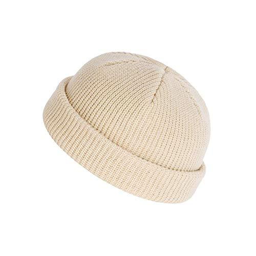 HAOSHA Unisex Winter Warm Knit Toque Casual Manschetten Hut Hut Hip Hop Short Melon Ribbed Ski Fischer Hut, Beige, 54-58