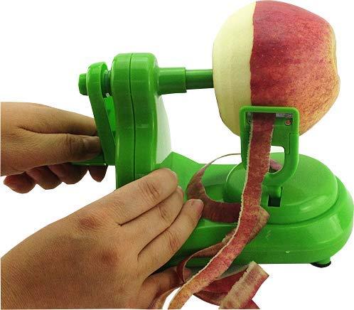 Pelador de manzanas de manivela LW, pelador de frutas, pelador de verduras, pelador de patatas de pera, pelador de patatas de cocina, pelador automático de manivela de mano, herramientas de cocina, gadgets de pelado, Verde, 15x10x10cm, 1