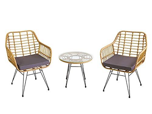 HABITMOBEL Conjunto Jardin o terraza 3 Elements incluidos (2 sillones y Mesa)