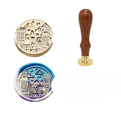 Sello de cera de invitación sellos DIY lindo animal ciervo patrón de sellado para scrapbooking artesanía mango de madera antiguo cobre Dropship-DY2, China