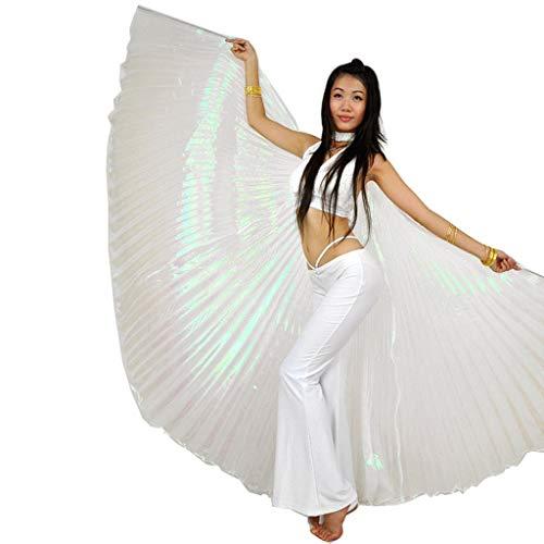 Wuchieal Öffnung Bauchtänzerin Isis Flügel Dancing Requisiten Kostüm mit Stöcke Tasche (Weiß, One Size)
