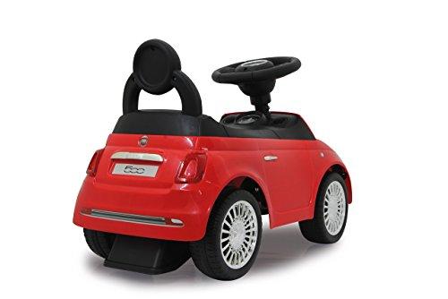 Jamara 460326 - Rutscher Fiat 500 rot - offiziell lizenziert, Kofferraum unter der Sitzfläche, Schub- und Haltegriff, verschiedene Sounds, Hupe, originalgetreue Optik, wertige Verarbeitung