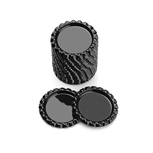 IGOGO Flat Bottle Caps Decorative Bottle Cap for Hair Bows, DIY Pendants or Craft Scrapbooks Black,100 PCS