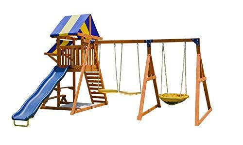 Sportspower Willow Creek Outdoor Kids Wooden Swing Set, Brown/Blue/Yellow (WP-603)