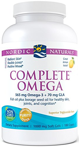 Nordic Naturals Complete Omega - Omegas 3-6-9 From Fish Oil and Borage Oil, Supports Heart, Brain, Joint, and Skin Health*, Burpless, Lemon Flavor, 180 Count