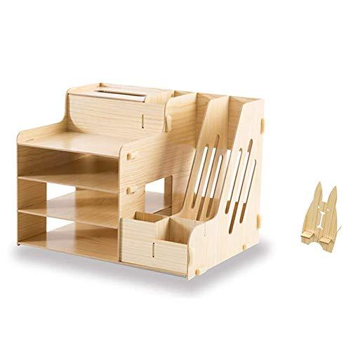 ACAMPTAR Wooden Office Desk Organizer Set Accessories, Multi-Functional Pen Holder Box for Desktop Stationary, Paper Filer Trays