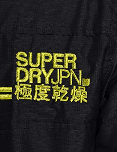 Superdry Men's Arctic Hooded Pop Zip Windchea Sports Jacket, Black (Black/Acid Lime Qz8), Large