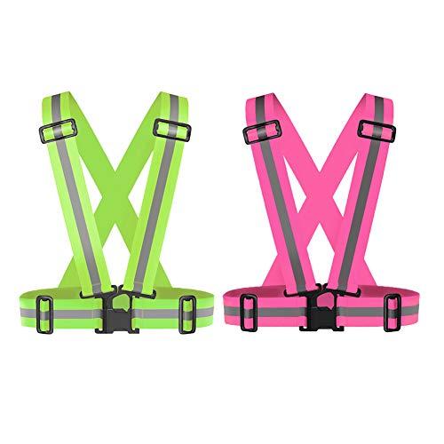 Zhongtou 2 Stück Warnwesten 300m Sichtbarkeit ReflektorwesteElastisch Verstellbar Reflektierende Sicherheitsweste für Damen Herren Kinder Erwachsene Fahrad Motorrad Joggen Laufen Neon Gelb und Rosa
