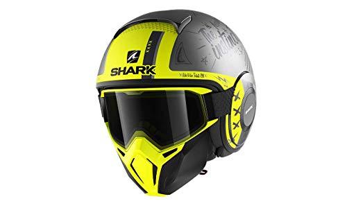 Casco moto Shark STREET DRAK TRIBUTE RM Mat ASY, Nero/Giallo, XS