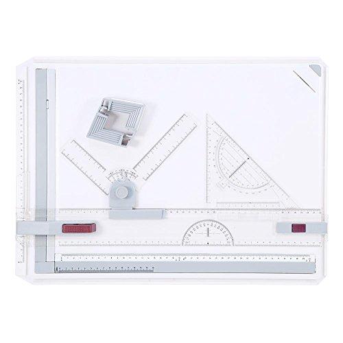A3-Zeichenbrett, Multifunktional Zeichenplatte, mit paralleler Bewegung und verstellbarem Winkel, metrische Lineale, quadratische Grafik, 56 x 39 cm