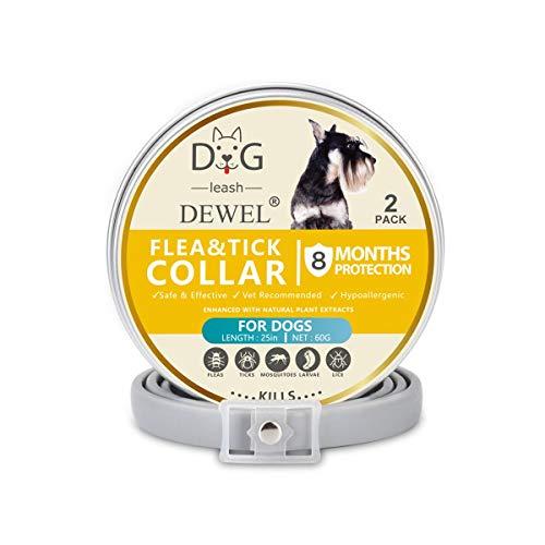 DEWEL 2pcs Zeckenhalsband für Hunde, Verstellbar Zecken Halsband für Hunde und Katze, Wasserdicht Hund Flohhalsband, 2 x 63,5cm