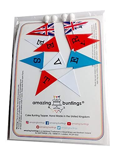 amazing buntings, Best Dad Ever 232 - Guirnalda para tarta de cumpleaños, diseño de bandera de Reino Unido