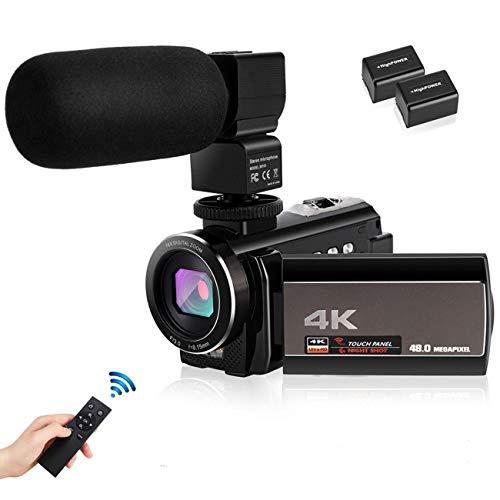Camcorder Videokamera,4K Digitalzoom Digitalkamera Vlogging-Kamera für YouTube 3,Karte Full HD 1080P 30FPS 16X 0-Zoll-LCD 270 Grad IPS-Bildschirm-LED mit 2 Batterien