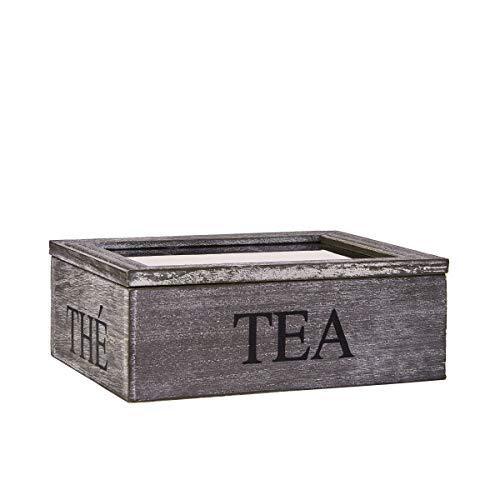 BUTLERS Campagne Teekiste Teebox mit 3 Fächern - Aufbewahrung für Teebeutel - Holzkasten mit Glasdecke