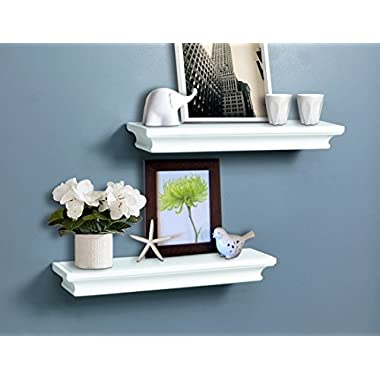 AHDECOR Traditional Wall Shelves Set White Finish Of 2 pcs