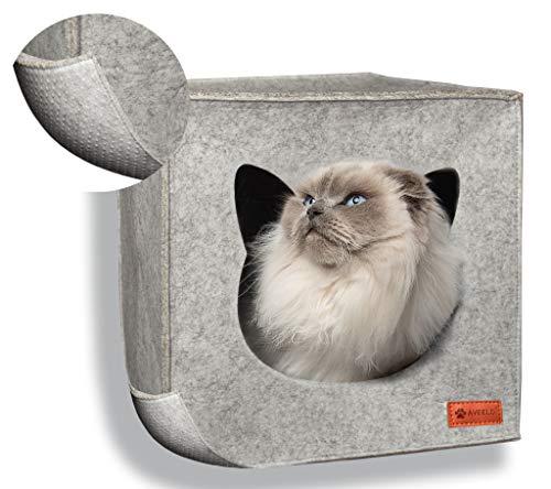 AVEELO Cueva para gatos de fieltro con suelo antideslizante, apta para estantería IKEA Kallax y Expedit, con cojín extraíble, cueva de fieltro para gatos y perros pequeños, color gris claro