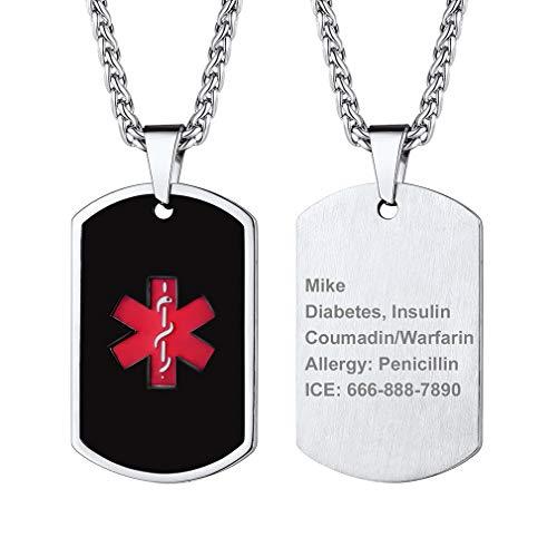 Cruz Roja Alerta Médica Collar ID Negro/Plateado Acero Inoxidable Placa de Identidad Colgante con Cadena de Cable para Casos de Emergencia Personalización Gratis