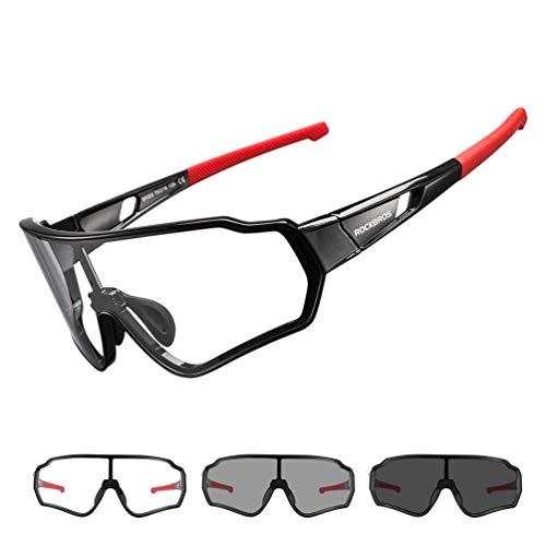 ROCKBROS Photochromatisch Sonnenbrille für Herren, Frauen, Sportbrille UV400-Schutz Brille Fahrrad für Outdoor-Sport Angeln Golf Radfahren Laufen Klettern