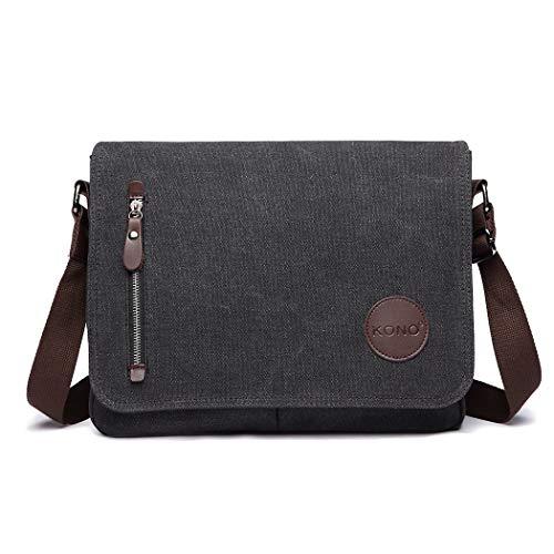 KONO Messenger Bag for Men Women Canvas Satchel Crossbody Shoulder Bags Boys Girls Large School Bag (1824 Black)