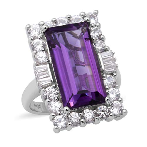 TJC Natural Amethyst Halo Ring for Womens in 925 Sterling Silver Anniversary Jewellery Size O with White Zircon, TCW 10.58ct