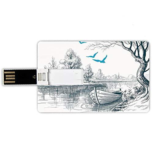 USB-Sticks 8GB Kreditkartenform Lake Decor Memory Stick-Bankkartenstil Boot auf ruhigem Fluss-Baum-Vogel-Zweig-Skizze,die Clipart-Wasser Minimalistic,weißes graues Blau zeichnet Wasserdichte stift dau