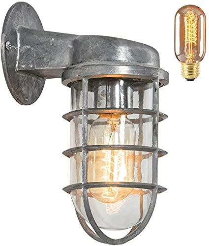 Lamparas Pared,Aplique de pared de cocina reversible de hierro forjado de metal industrial vintage de estilo náutico con protector de alambre Lámpara de pared de luz de pared antigua rústica