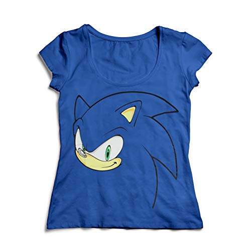 Sonic -L- Blue, Big Face Girl's T-shirt