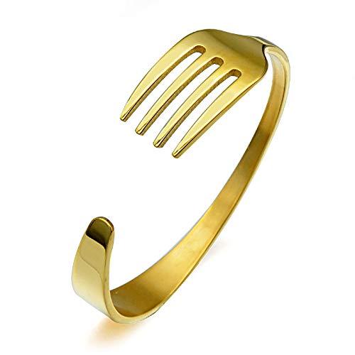 WDAIJY Pulsera Mujer,Puño De Oro Cool Tenedor Spoon Mujeres Brazaletes para Mujeres Horquilla De Acero Inoxidable Trident Abra Pulseras para Mujeres Y Hombres De Regalo De Joyería