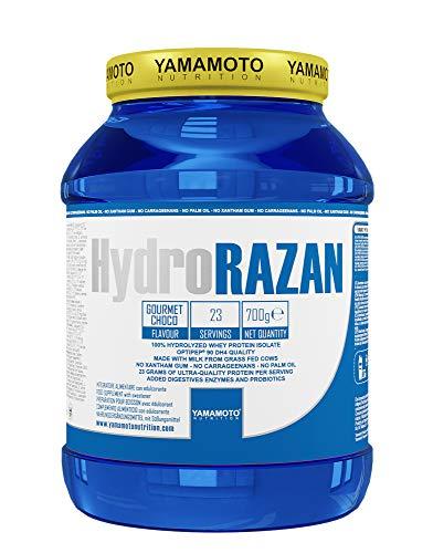 Yamamoto Nutrition Hydro RAZAN new formula integratore alimentare a base di proteine del siero del latte idrolizzate Optipep 90 con aggiunta di probiotici ed enzimi digestivi gusto Cioccolato 700 g