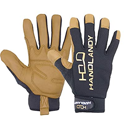 Men Utilty Leather Work Golves, Dexterity Goatskin Mechanics Gloves, Ultra Comfort, Stretch Fit for Driver, Construction, Yard Work (Large, Brown)